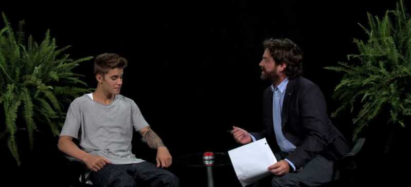 Between Two Ferns with Zach Galifianakis- Justin Bieber via Funny or Die screen cap