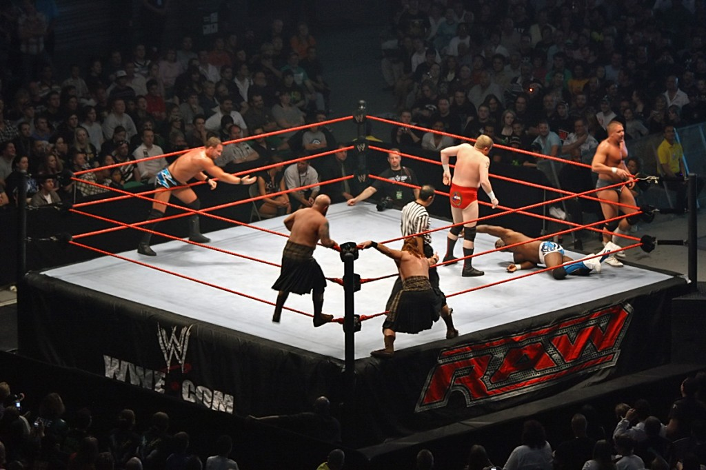 WWE-Triple-Threat-Tag-Title-Match_in_progress,-RLA-Melb-10.11.2007 - Photo Credit - John O'Neill